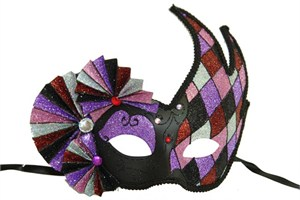 Harlequin Black And Purple Half Mask With Fans