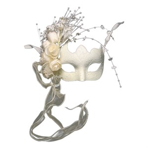 Buy White Venetian Half Mask With Flowers. Shop stunning ...