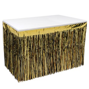 2-Ply Black And Gold Metallic Table Skirting