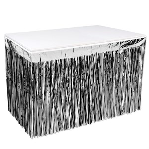 2-Ply Black And Silver Metallic Table Skirting