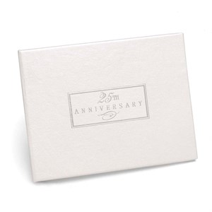 25th Anniversary Small White Guest Book