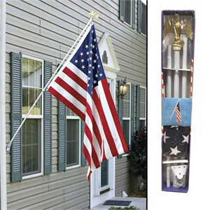 6ft White Steel Wall Mount Flag Pole Kit With Flag