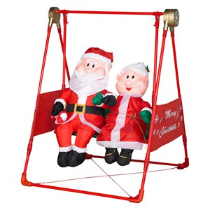 Airblown Mr. And Mrs. Claus On A Swing