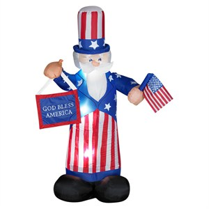 Airblown Uncle Sam With Flag-God Bless America