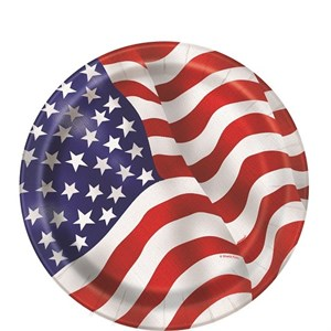 """Red White And Blue American Flag Paper Plates - 7"""""""