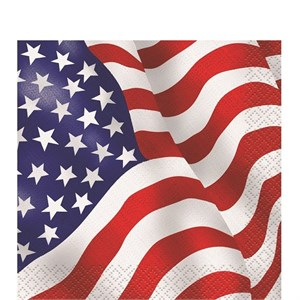 Red White And Blue American Flag Beverage Napkins