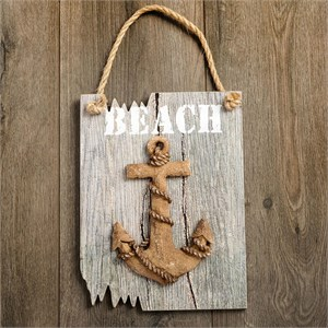 Anchor Plaque Word Beach in White Driftwood Edge