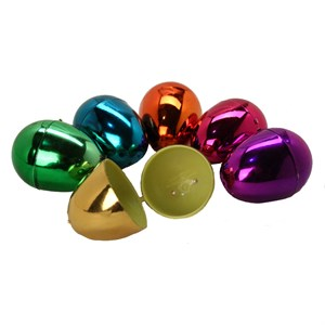 Assorted Color Hinged Plastic Metallic Eggs