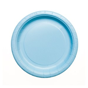 """Baby Blue Paper Plates - 7"""""""
