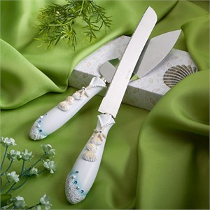 Beach Themed Wedding Cake Knife And Server Set