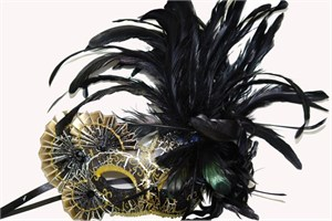 Black And Gold Feathers And Fans Masquerade Mask