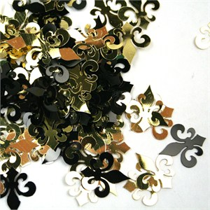 Black And Gold Fleur De Lis Foil Confetti
