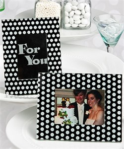 Black And White Polka Dot Frame  Placecard Holders