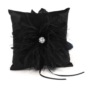 Black Feathered Flair Ring Pillow