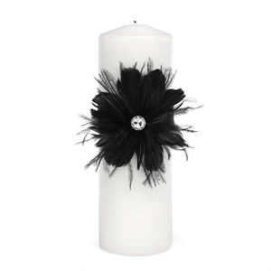 Black Feathered Flair Unity Candle
