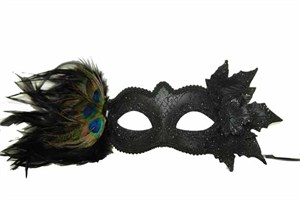 Black Mask With Peacock Feathers And Leaves