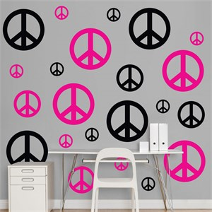 Black Hot Pink Peace Signs REALBIG Wall Decal