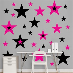 Black And Hot Pink Stars REALBIG Wall Decal