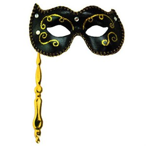 Black Masquerade Stick Mask