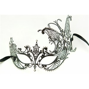 Black Metal Venetian With Side Butterfly Mask