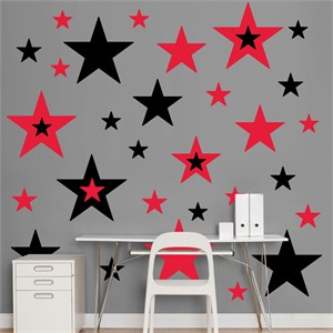 Black And Red Stars REALBIG Wall Decal