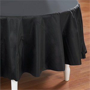 black-round-tablecloth.jpg & Black Plastic Table Cover - Round