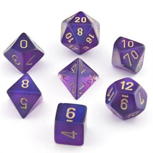 Chessex Borealis Royal Purple With Gold Polyhedral 7 Die Set