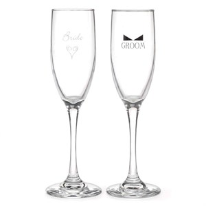 Bride And Groom Flutes with Bow Tie