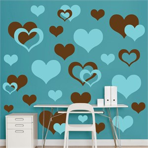 Brown And Turquoise Hearts REALBIG Wall Decal