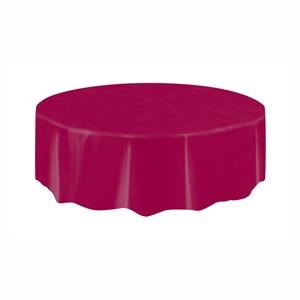 Burgundy Plastic Table Cover - Round