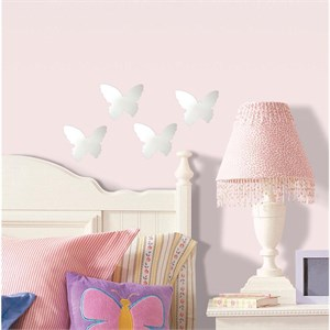 Butterfly Peel And Stick Mirror (Small-4 pieces)