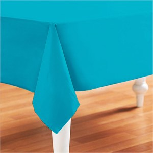 Caribbean Teal Plastic Table Cover - Rectangle