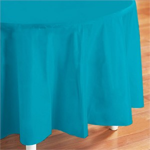 Caribbean Teal Plastic Table Cover - Round