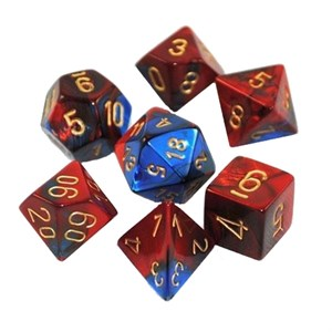 Chessex - Gemini Blue Red With Gold Polyhedral 7 Die Set