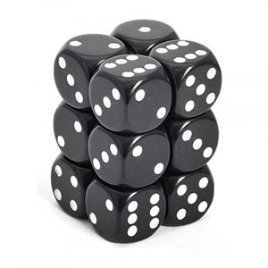 Chessex - Opaque 16mm D6 Dice Blocks Black With White