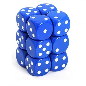 Chessex - Opaque 16mm D6 Dice Blocks Blue With White