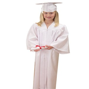 Childs White Graduation Cap And Gown