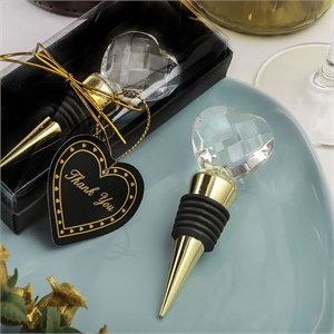 Choice Crystal Gold Bottle Stopper with Crystal Heart Design