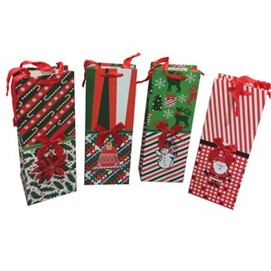 Christmas Wine Bottle Bags With Ribbon Ties