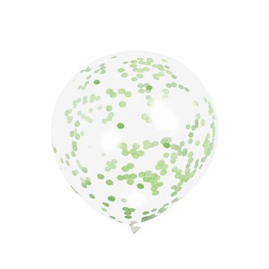 Clear Balloons With Lime Green Confetti