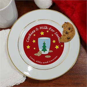 Cookies For Santa-Milk Personalized Ceramic Plate