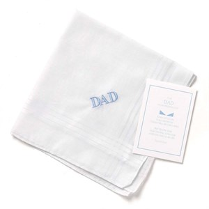 Dad Hanky With Blue Embroidery