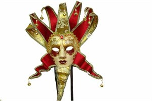 Deluxe Red Women's Jester Mask