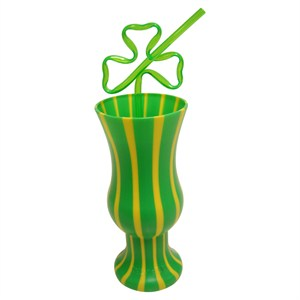 Deluxe Shamrock Hurricane Glass With Straw