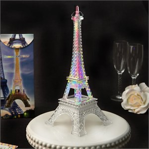 Eiffel Tower Centerpiece in Clear Acrylic Plastic with Colorful Led Lights