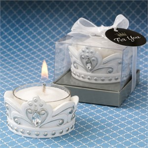 Elegant White Crown with Silver Accents Tea Light Candle