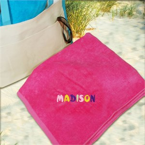 Embroidered Pastel Name Pink Beach Towel