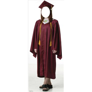 Female Graduate Red Cap And Gown Standin Standup