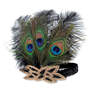 Flapper Peacock Feather Headband