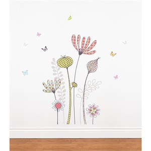 Flowers and Butterflies Transfer Decal